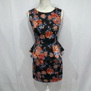 Forever 21 floral coral peplum sleeveless dress